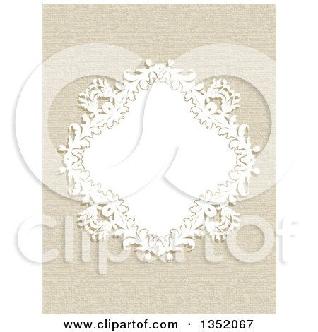 Clipart of a White Floral Diamond Frame over a Canvas Texture - Royalty Free Vector Illustration by KJ Pargeter