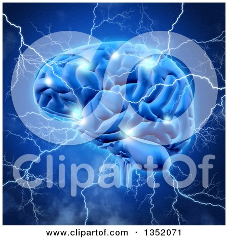 Clipart of a 3d Human Brain Sparking and Being Struck with Lightning Bolts, over Blue - Royalty Free Illustration by KJ Pargeter