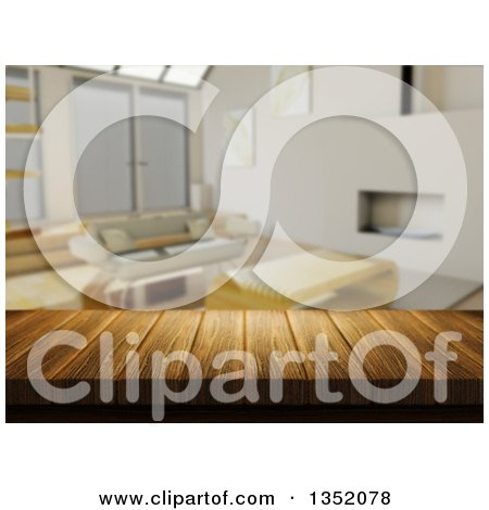 Clipart of a 3d Close up of a Wooden Table and a Blurred Modern Living Room - Royalty Free Illustration by KJ Pargeter