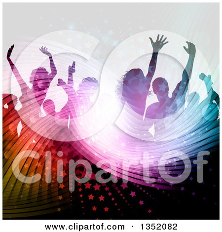 Clipart of a Silhouetted Crowd of Dancers over a Wavy Light Burst, Stars and Flares - Royalty Free Vector Illustration by KJ Pargeter
