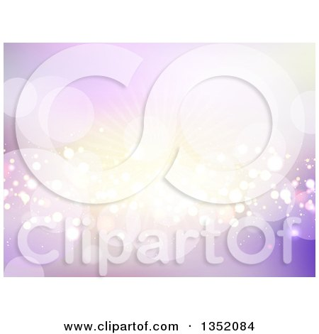 Clipart of a Background of Flares and Busts in Purple and Gold Tones - Royalty Free Vector Illustration by KJ Pargeter