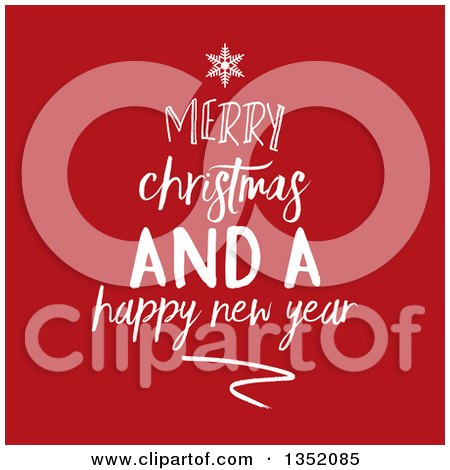 Clipart of a White Merry Christmas and a Happy New Year Greeting Forming a Tree over Red - Royalty Free Vector Illustration by KJ Pargeter
