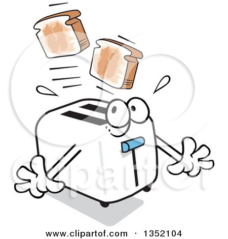 Clipart of a Cartoon Toaster Startling Itself While Popping out Toast - Royalty Free Vector Illustration by Johnny Sajem