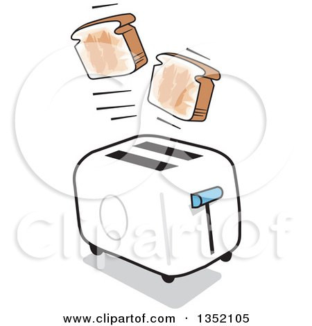Clipart of a Cartoon Toaster Popping out Toast - Royalty Free Vector Illustration by Johnny Sajem
