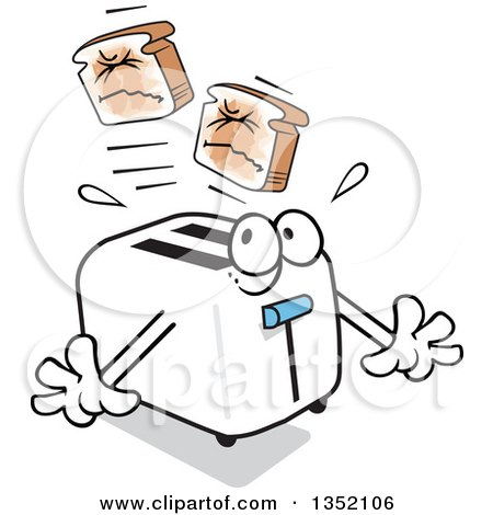 Clipart of a Cartoon Toaster Popping out Hurting, Squinting Toast - Royalty Free Vector Illustration by Johnny Sajem