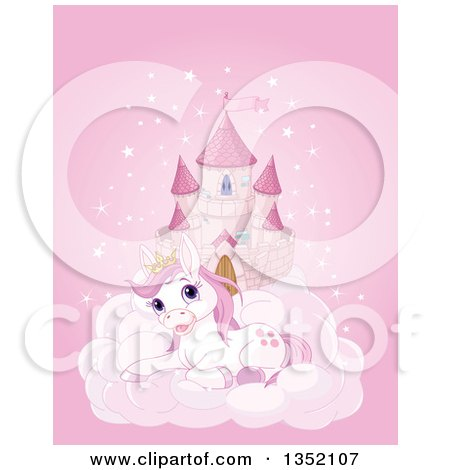 Clipart of a Pink Fairy Tale Castle in the Sky, with a Cute Resting Princess Pony - Royalty Free Vector Illustration by Pushkin