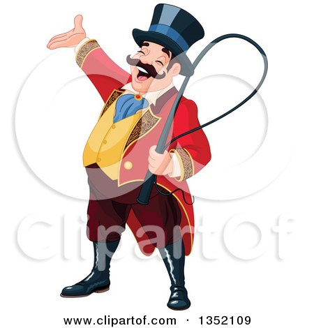 Clipart of a Presenting Enthusiastic White Male Circus Ringmaster - Royalty Free Vector Illustration by Pushkin