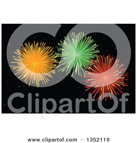 Clipart of Orange, Green and Red Holiday Fireworks Exploding in a Dark Night Sky - Royalty Free Vector Illustration by Pushkin
