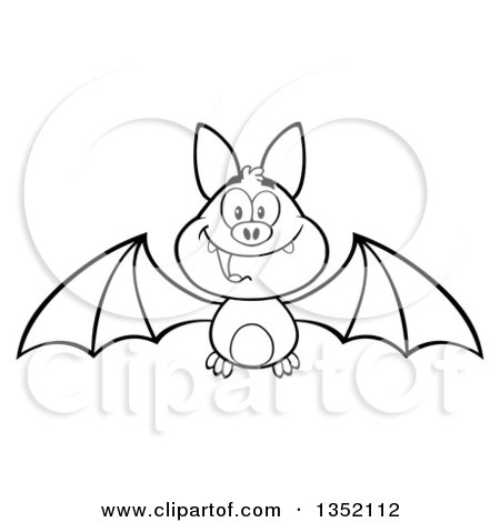 Outline Clipart of a Cartoon Black and White Halloween Flying Vampire Bat - Royalty Free Lineart Vector Illustration by Hit Toon