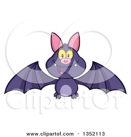 Clipart of a Cartoon Halloween Flying Purple Vampire Bat - Royalty Free Vector Illustration by Hit Toon