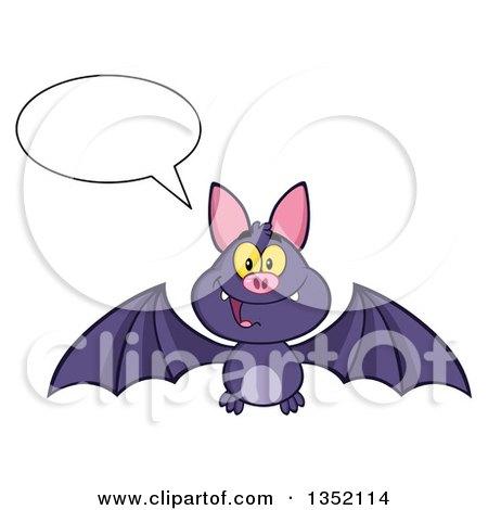 Clipart of a Cartoon Halloween Flying Purple Vampire Bat Talking - Royalty Free Vector Illustration by Hit Toon