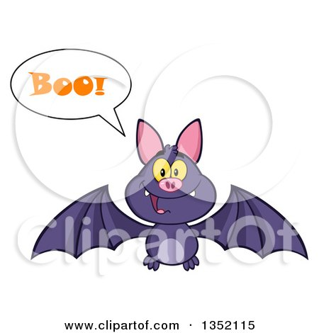 Clipart of a Cartoon Halloween Flying Purple Vampire Bat Saying Boo - Royalty Free Vector Illustration by Hit Toon