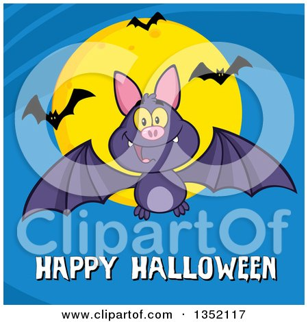 Clipart of a Cartoon Flying Purple Vampire Bat over Happy Halloween Text and a Full Moon on Blue - Royalty Free Vector Illustration by Hit Toon