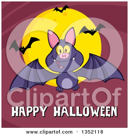 Clipart of a Cartoon Flying Purple Vampire Bat over Happy Halloween Text and a Full Moon on Purple - Royalty Free Vector Illustration by Hit Toon