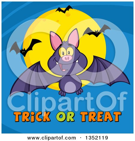 Clipart of a Cartoon Halloween Flying Purple Vampire Bat over Trick or Treat Text and a Full Moon on Blue - Royalty Free Vector Illustration by Hit Toon