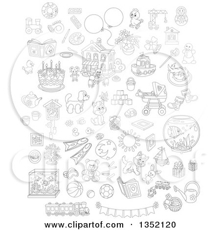 Outline Clipart of Cartoon Black and White Cute Animals, Toys and Other Items - Royalty Free Lineart Vector Illustration by Alex Bannykh