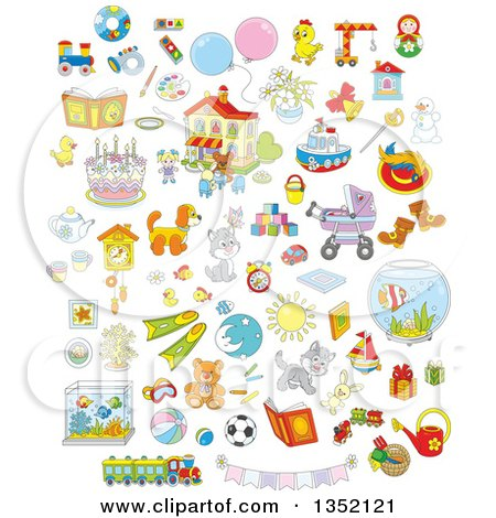 Clipart of Cartoon Cute Animals, Toys and Other Items - Royalty Free Vector Illustration by Alex Bannykh
