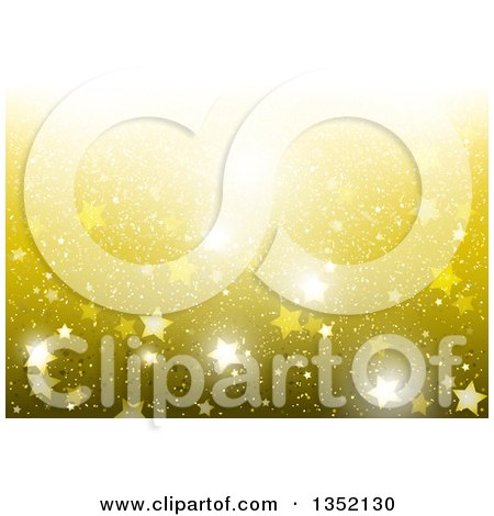 Clipart of a Background of Sparkly Stars on Gold - Royalty Free Vector Illustration by dero