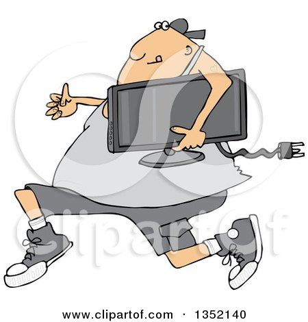 Clipart of a Cartoon Chubby White Juvenile Deliquent Man Looting and Running with a Stolen Television - Royalty Free Vector Illustration by djart
