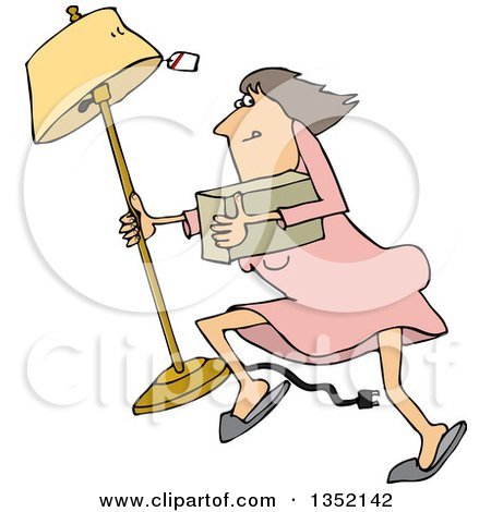 Clipart of a Cartoon White Woman Looting and Running with a Stolen Lamp - Royalty Free Vector Illustration by djart