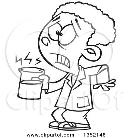 Outline Clipart of a Cartoon Black and White African School Boy Holding a Hot Cup in Science Class - Royalty Free Lineart Vector Illustration by toonaday