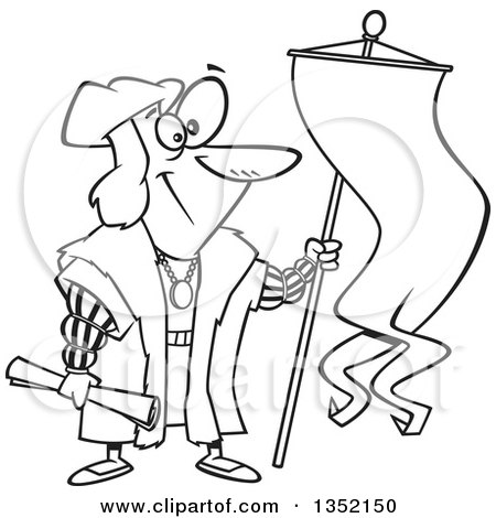 Outline Clipart of Cartoon Black and White Christopher Columbus Holding a Scroll and Flag - Royalty Free Lineart Vector Illustration by toonaday