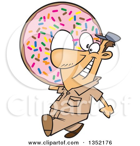 Clipart of a Cartoon Happy White Worker Man Carrying a Giant Sprinkle Donut - Royalty Free Vector Illustration by toonaday