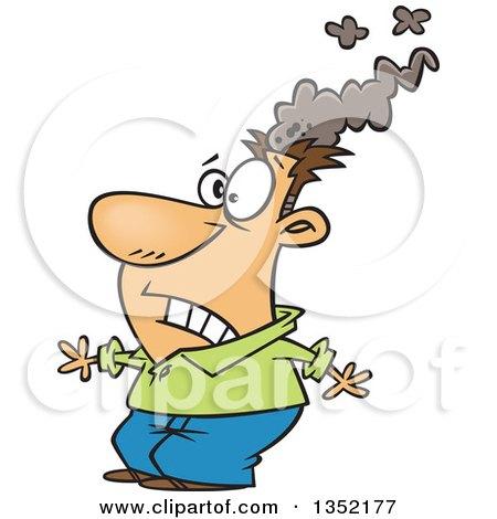 Cartoon White Brain Blasted Man with a Smoking Head Posters, Art Prints