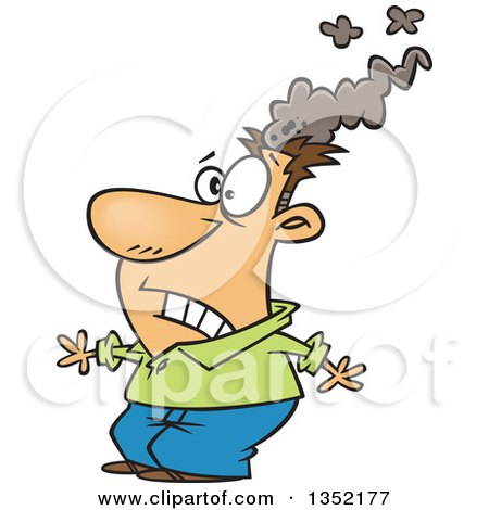 Clipart of a Cartoon White Brain Blasted Man with a Smoking Head - Royalty Free Vector Illustration by toonaday