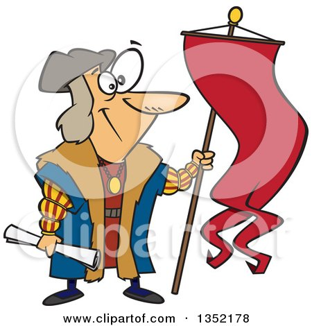 Clipart of Cartoon Christopher Columbus Holding a Scroll and Flag - Royalty Free Vector Illustration by toonaday