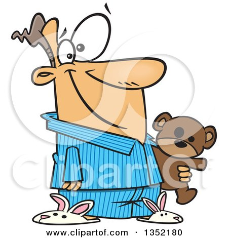 Clipart of a Cartoon Happy White Man in His Pajamas and Bunny Slippers, Holding a Teddy Bear - Royalty Free Vector Illustration by toonaday