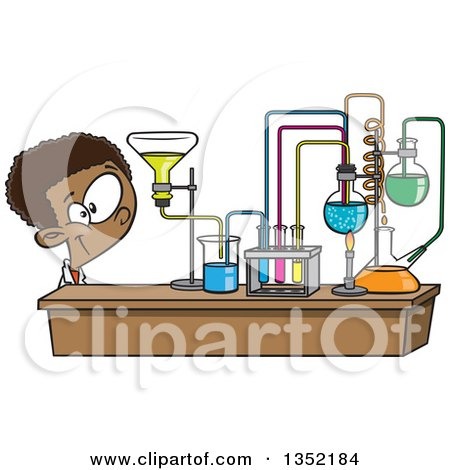 Clipart of a Cartoon Black School Boy Looking at His Lab Setup in ...