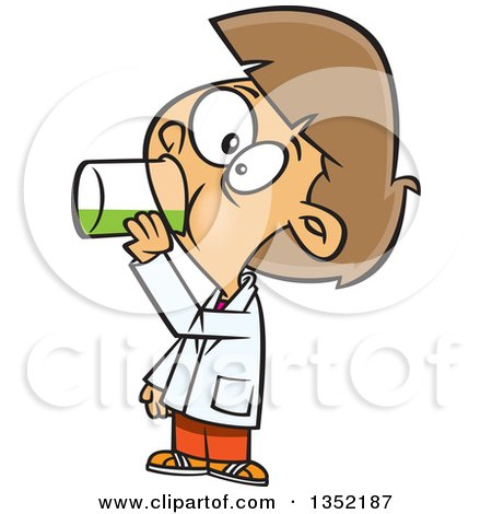 Clipart of a Cartoon Brunette White Girl Drinking a Liquid in Science Class - Royalty Free Vector Illustration by toonaday