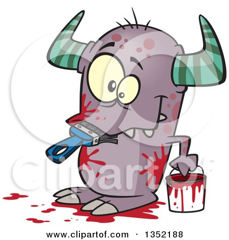 Clipart of a Cartoon Horned Monster Eating a Paintbrush, Covered in Red Splatters - Royalty Free Vector Illustration by toonaday