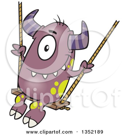 Clipart of a Cartoon Horned Purple Monster on a Swing - Royalty Free Vector Illustration by toonaday