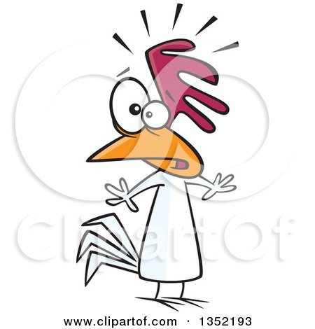 Clipart of a Cartoon Nervous Chicken - Royalty Free Vector Illustration by toonaday