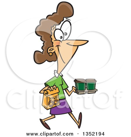 Cartoon Happy Brunette White Woman Carrying Coffee and Donuts Posters, Art Prints