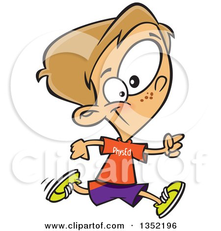 Clipart of a Cartoon Happy Dirty Blond White School Boy Running in Gym Glass - Royalty Free Vector Illustration by toonaday