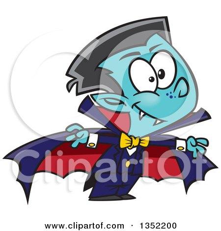Clipart of a Cartoon Halloween Vampire Boy - Royalty Free Vector Illustration by toonaday