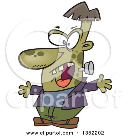 Clipart of a Cartoon Halloween Frankenstine Being Scary - Royalty Free Vector Illustration by toonaday
