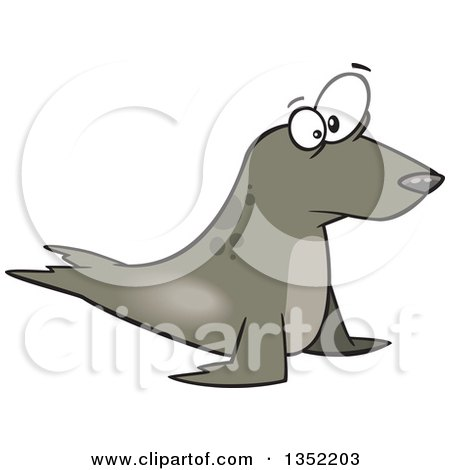 Clipart of a Cartoon Staring Seal - Royalty Free Vector Illustration by toonaday