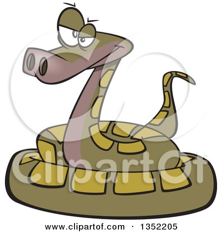 Clipart Of A Cartoon Annoyed Green Coiled Snake Royalty Free Vector Illustration