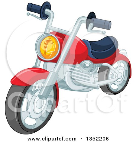 Clipart of a Cartoon Red Motorcycle - Royalty Free Vector Illustration by Pushkin
