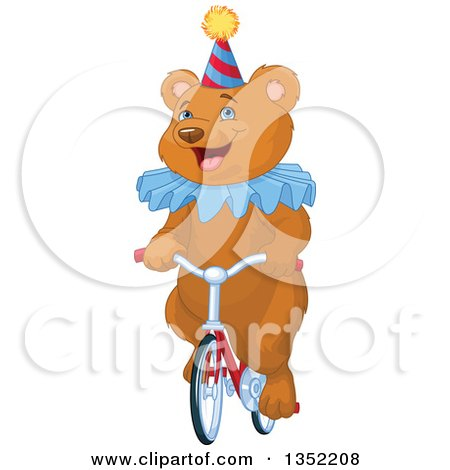 Clipart of a Happy Brown Circus Bear Riding a Bicycle - Royalty Free Vector Illustration by Pushkin