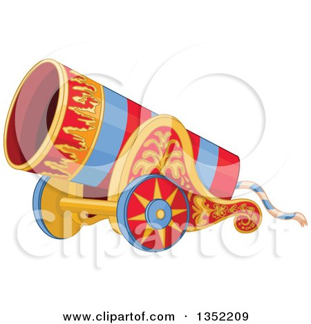 Clipart of a Red and Blue Striped Circus Cannon with Flame Decals - Royalty Free Vector Illustration by Pushkin