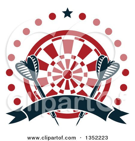 Clipart of Navy Blue Throwing Darts over a Target in a Circle of Dots, with a Star and Blank Ribbon Banner - Royalty Free Vector Illustration by Vector Tradition SM