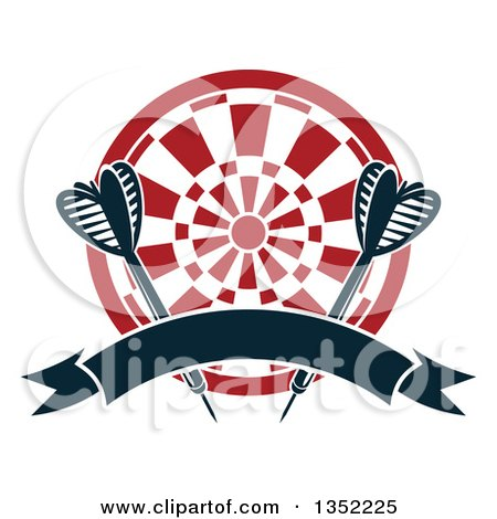 Clipart of Navy Blue Throwing Darts over a Target with a Blank Ribbon Banner - Royalty Free Vector Illustration by Vector Tradition SM