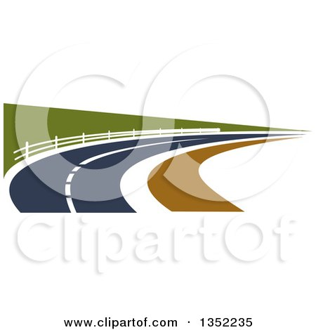 Clipart of a Road Leading Through a Country Side - Royalty Free Vector Illustration by Vector Tradition SM