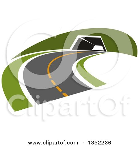 Clipart of a Road Leading to a Tunnel - Royalty Free Vector Illustration by Vector Tradition SM