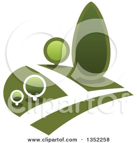 Clipart of a Park with Green Shrubs on a Hillside - Royalty Free Vector Illustration by Vector Tradition SM